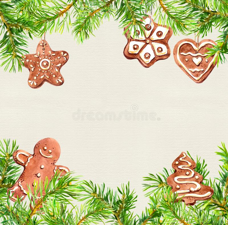 Christmas cookies, ginger bread man, conifer tree branches frame. Christmas card, empty blank. Watercolor vector illustration