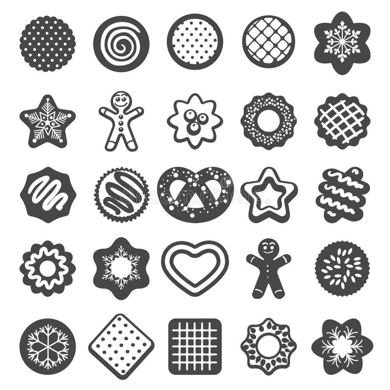Christmas cookies icons. Cookies and xmas biscuits desserts bakery products vector set vector illustration