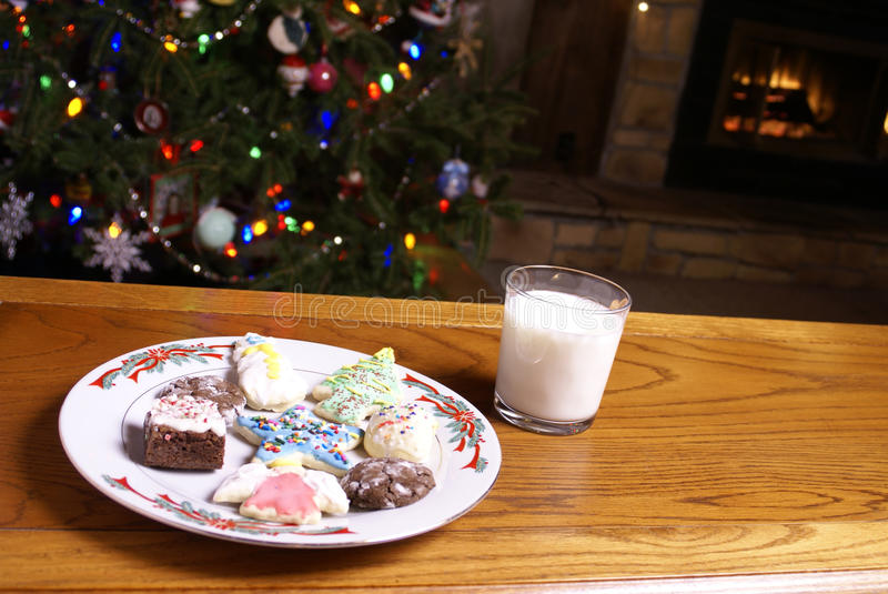 Christmas Cookies and Milk Fireplace Tree royalty free stock photography