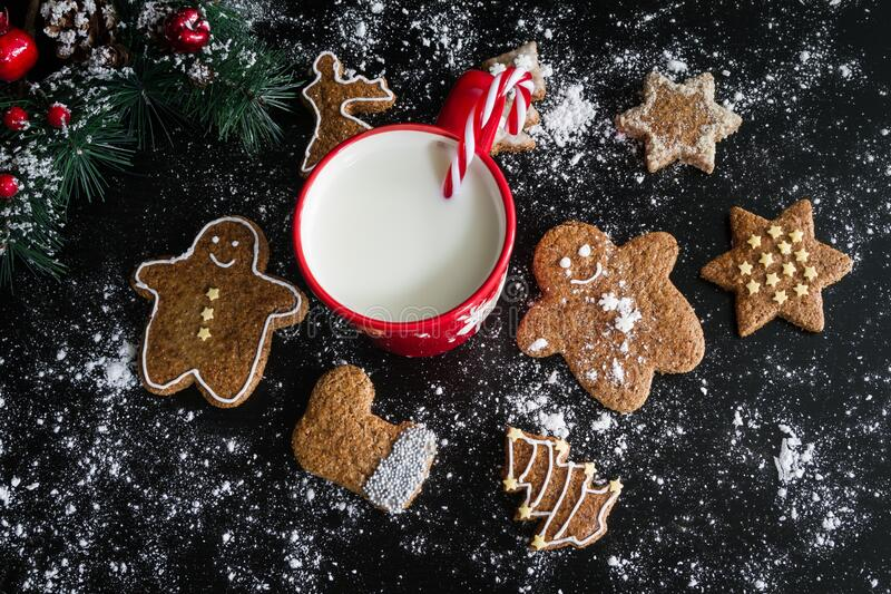Christmas cookies and milk stock image