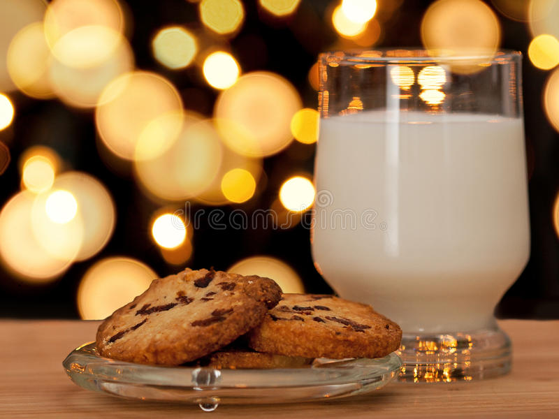Christmas cookies and milk stock photos