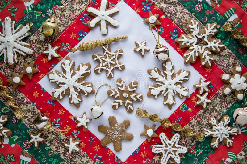 Christmas cookies and ornaments stock photos
