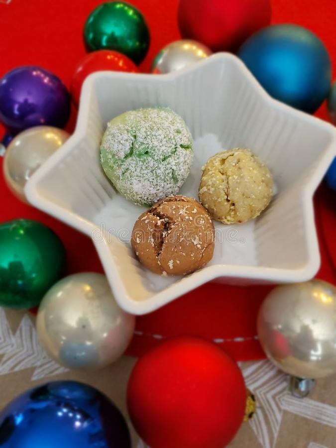 Italian Christmas Cookies and Ornaments stock photo