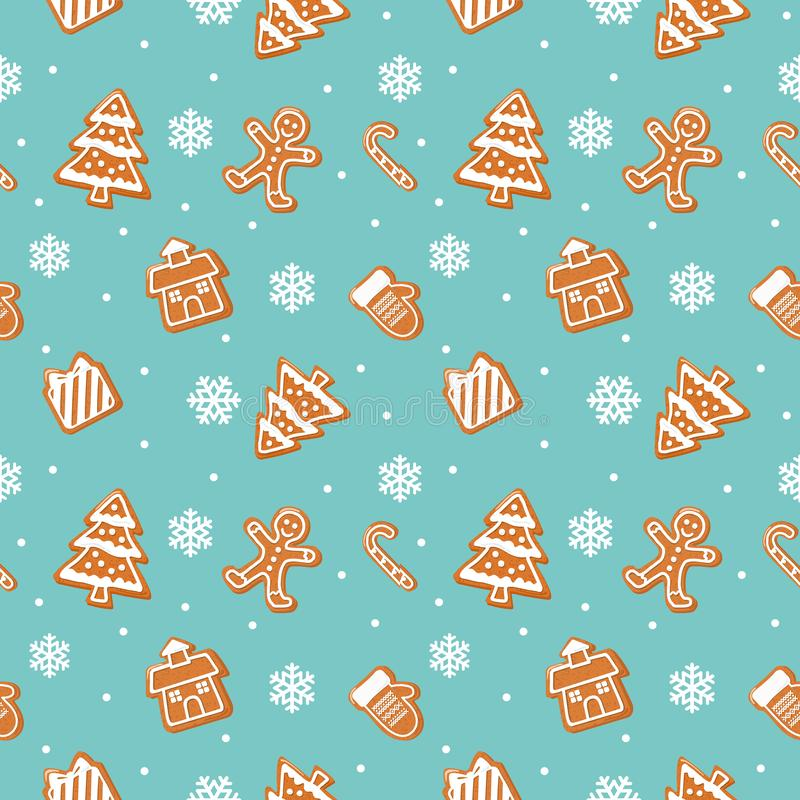 Christmas cookies pattern. Gingerbread man, house, tree, present box on pastel blue background. Raster vector illustration