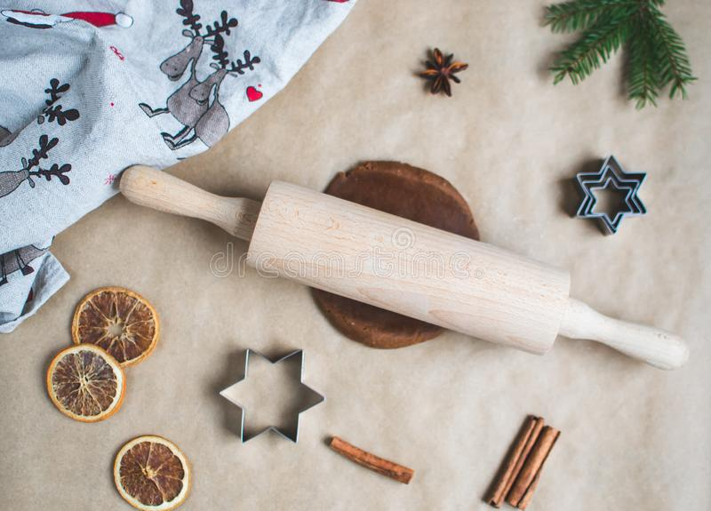 Christmas Cookies Preparation, Dough, New Year Concept, Background, Food, Rolling Pin Metal Form Star Gingerbread Man stock photo