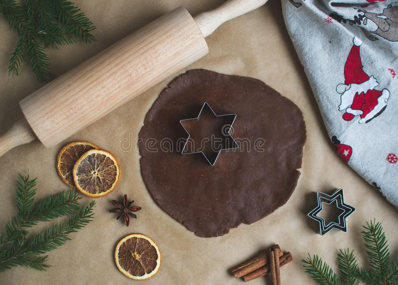 Christmas Cookies Preparation, Dough, New Year Concept, Background, Food, Rolling Pin Metal Form Star Gingerbread Man. Toned Retro royalty free stock photos