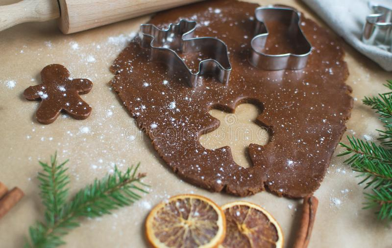 Christmas Cookies Preparation, Dough, New Year Concept, Background, Food, Rolling Pin Metal Form Star Gingerbread Man stock photography