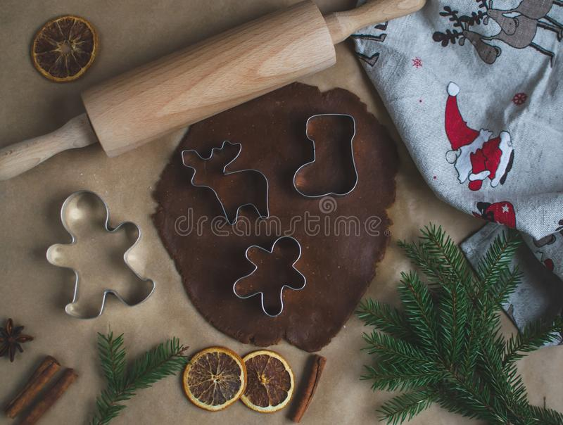 Christmas Cookies Preparation, Dough, New Year Concept, Background, Food, Rolling Pin Metal Form Star Gingerbread Man. Toned Retro stock images