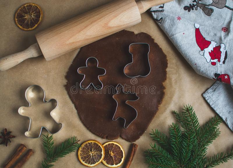 Christmas Cookies Preparation, Dough, New Year Concept, Background, Food, Rolling Pin Metal Form Star Gingerbread Man. Toned Retro stock photography