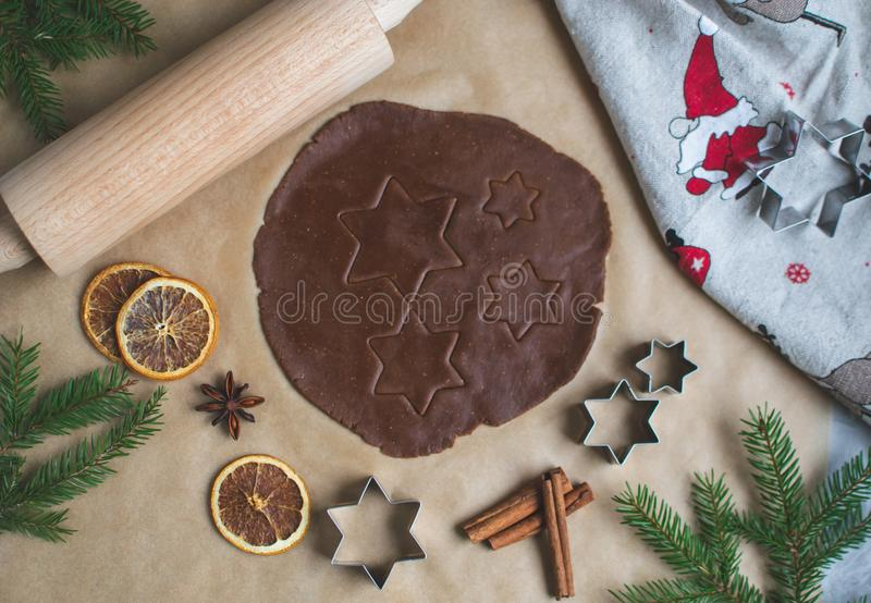 Christmas Cookies Preparation, Dough, New Year Concept, Background, Food, Rolling Pin Metal Form Star Gingerbread Man royalty free stock images