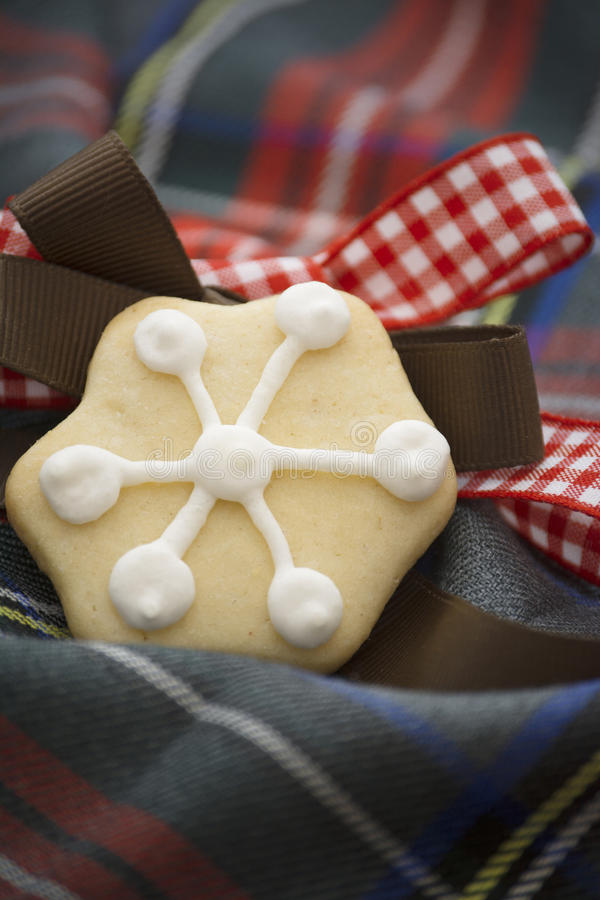 Christmas cookies on red and bule tartan. Christmas cookie decorated candy on red and blue tartan fabric, and brown belt. Vertical image stock photo