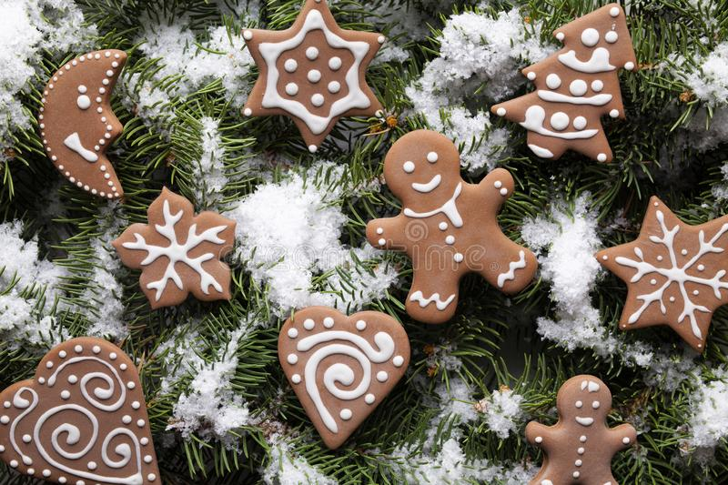 Christmas cookies on snow covered spruce branches. Christmas gingerbread cookies on snow covered spruce branches stock image