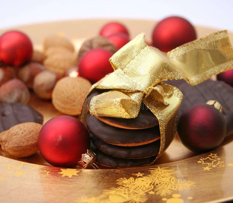 Christmas cookies. Some fresh christmas cookies with chocolate stock photography
