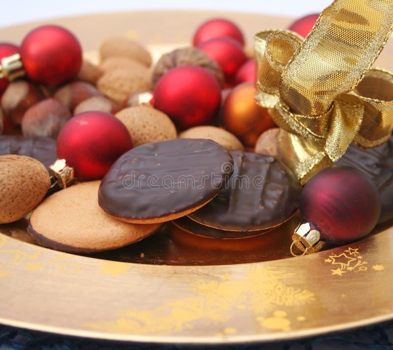 Christmas cookies. Some fresh christmas cookies with chocolate royalty free stock image
