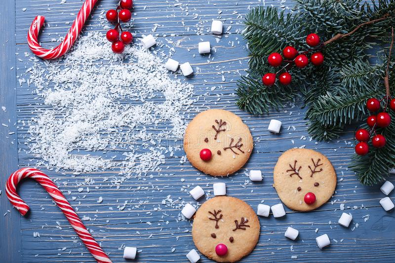 Christmas cookies and treats on the table. Sweet gifts for child stock images