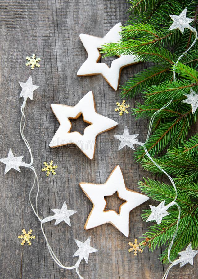Christmas cookies with tree and garland stock images