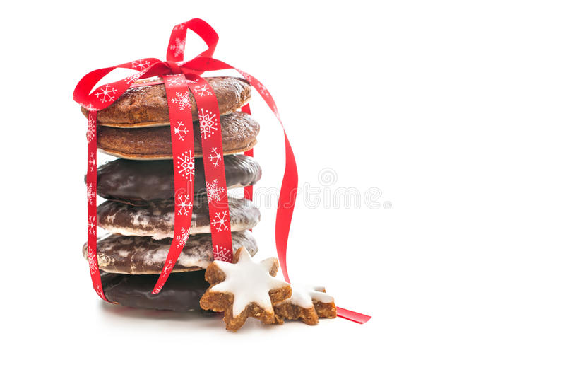 Download Christmas Cookies On White With Red Ribbon Stock Photo - Image: 28090214