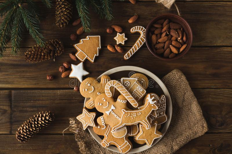 Christmas cookies on a wooden background. stock images