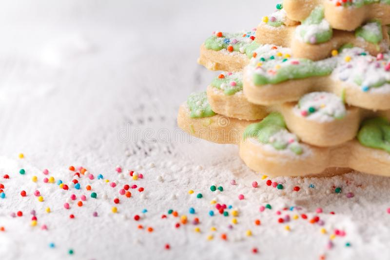 Christmas cookies on wooden table with copy cpace stock photography