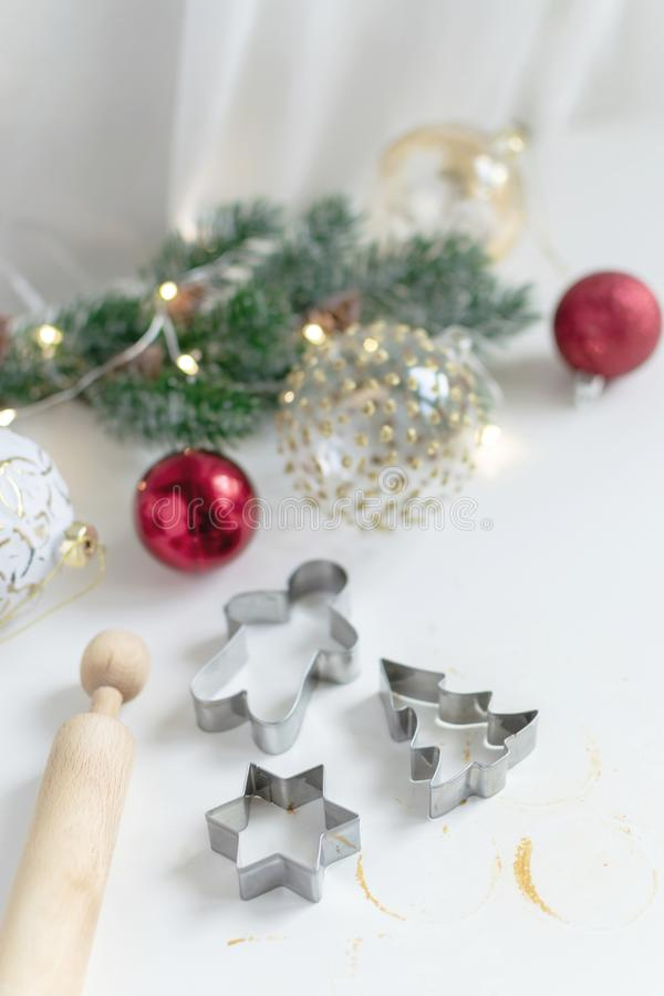 Christmas cooking background - homemade gingerbread cookies dough royalty free stock images