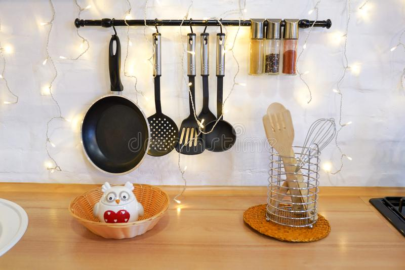 Christmas cooking table and utensils, winter kitchen decor royalty free stock image