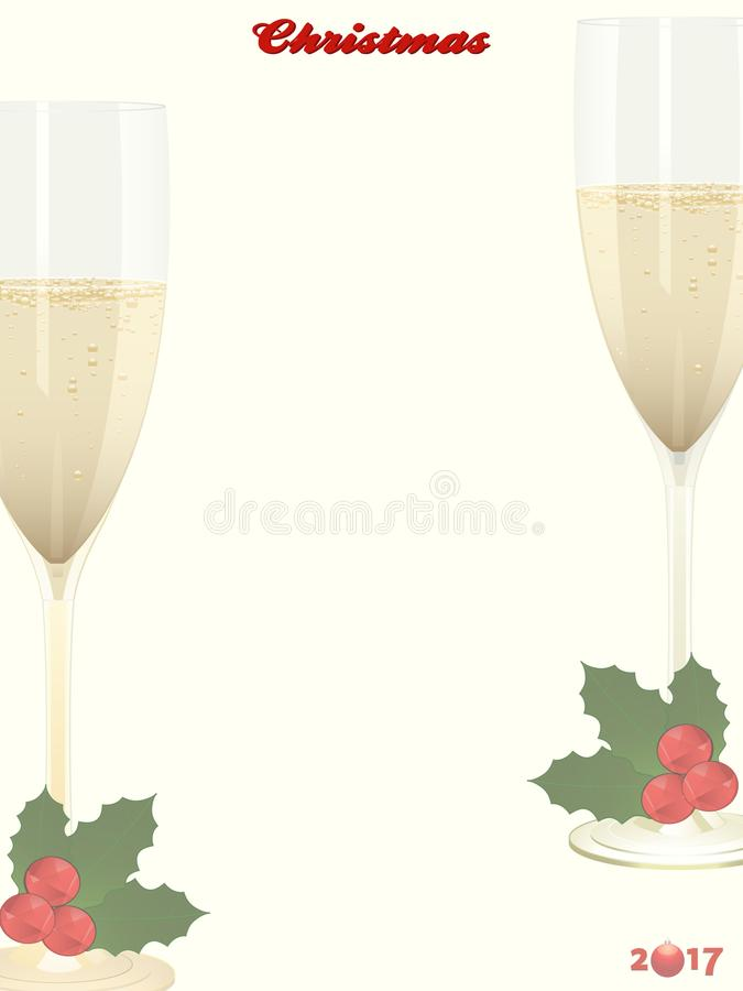 Christmas copy space background with champagne and holly vector illustration