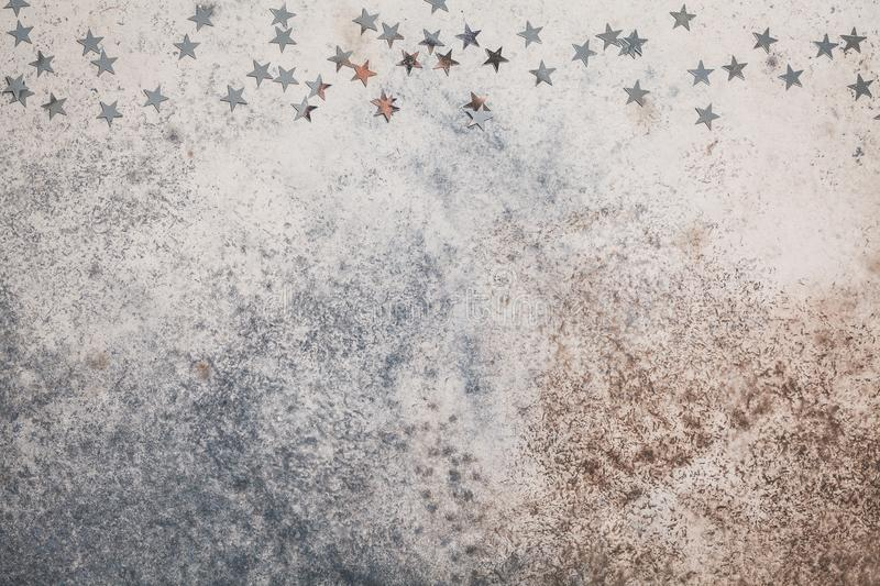 Christmas copy space gray background with silver stars stock photos