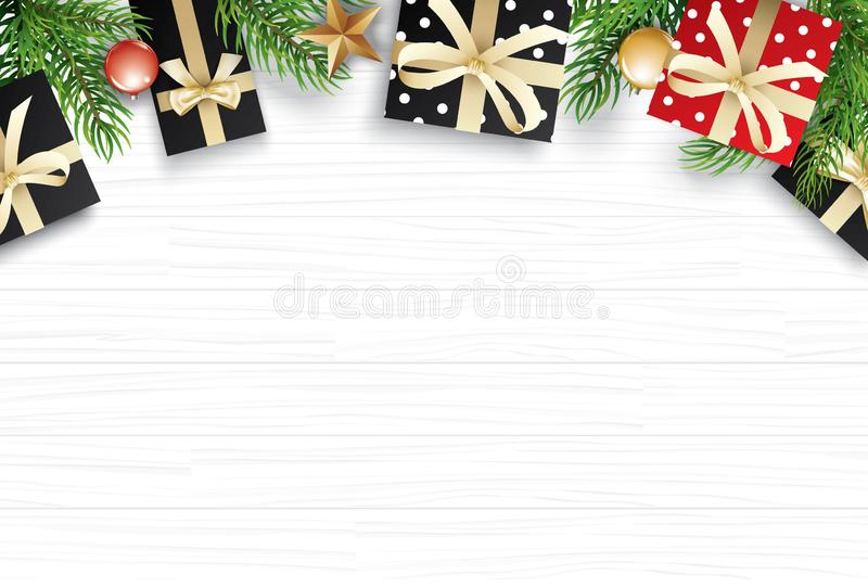 Christmas with copy space for text on white wooden background. Vector illustration decoration with fir branches and gift. Use for. Greeting card, banner, web stock illustration