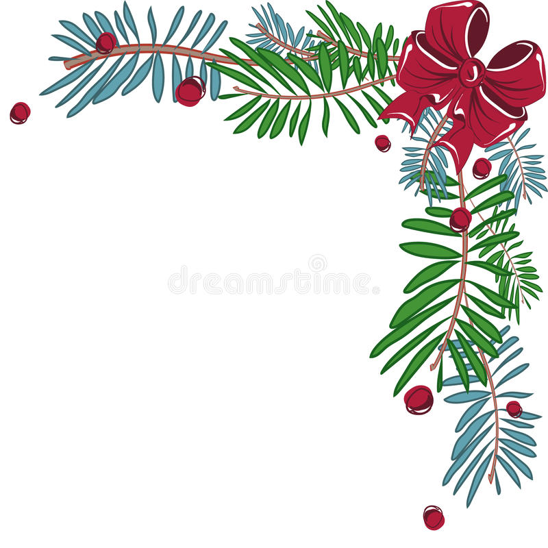 Christmas corner decorative frame with bow. royalty free illustration