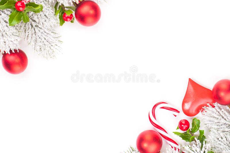 Christmas corners composition background. Red and green Christmas decorations border.  royalty free stock photography