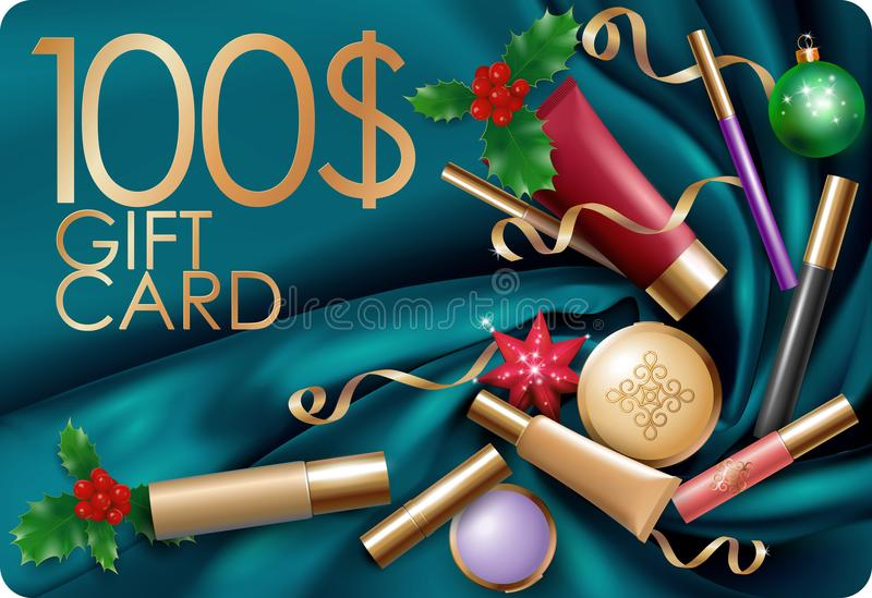Christmas cosmetic makeup gift card template 100 voucher. Silk satin glossy fabric package top view mockup New Year vector illustration