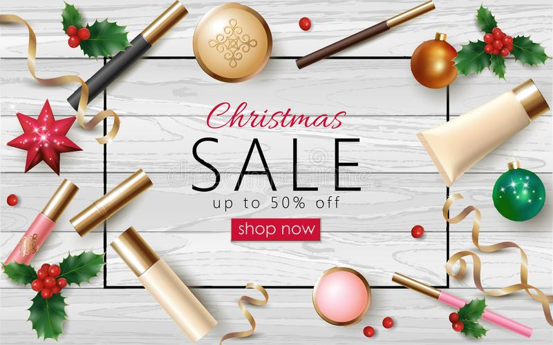 Christmas cosmetic sale 3d realistic web banner template. Female make up package New Year tree toy golden streamer frame royalty free illustration