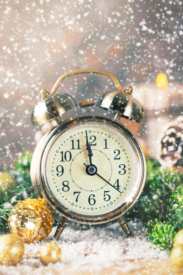 Christmas countdown new year Clock and balls fir royalty free stock images