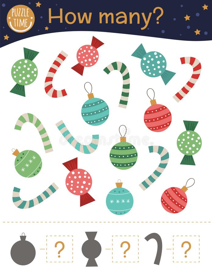 Christmas counting game with balls, candy canes, sweets. Winter math activity for preschool children. royalty free illustration