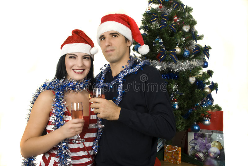 Download Christmas couple stock image. Image of celebration, drink - 7169033