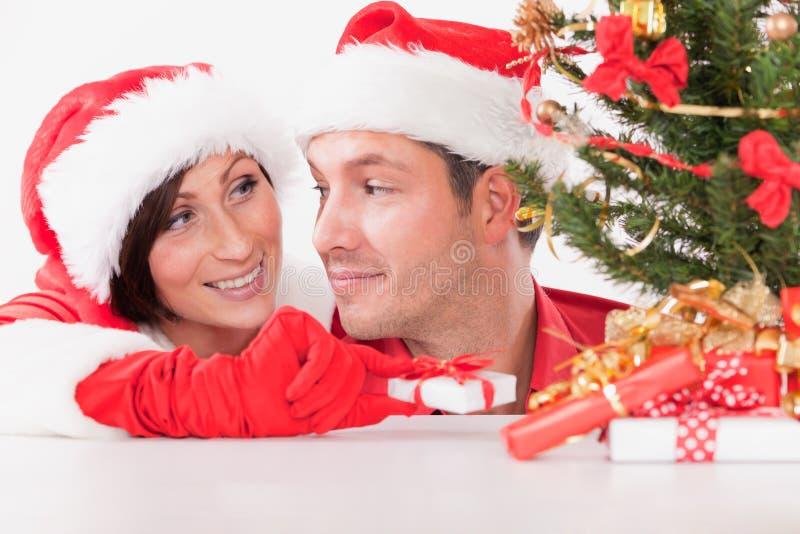 Download Christmas couple gift stock image. Image of santa, happy - 16756847