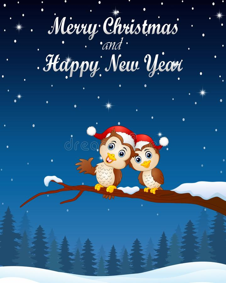 Christmas couple owls on the tree branch in night winter landscape royalty free illustration