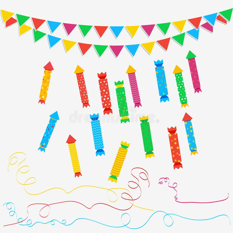 Christmas cracker set, party popper with streamers and carnival garland with flags isolated on white background. royalty free illustration