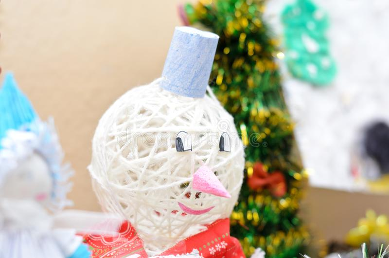 Christmas craft. Snowman and Santa Claus Christmas tree. Shallow depth of field stock photography