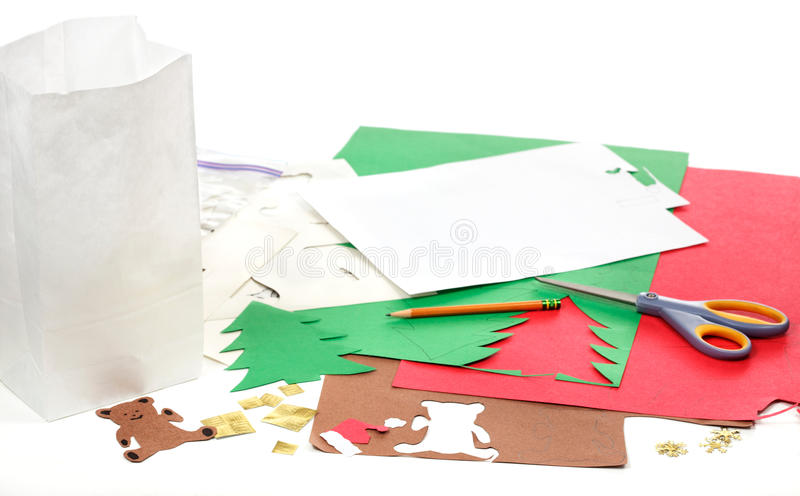 Christmas craft tools royalty free stock images