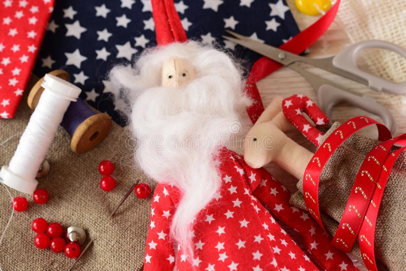 Christmas crafts. Background of Christmas toys royalty free stock image