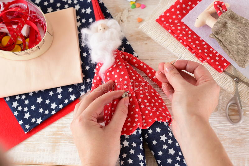 Christmas crafts. Background of Christmas toys stock photos