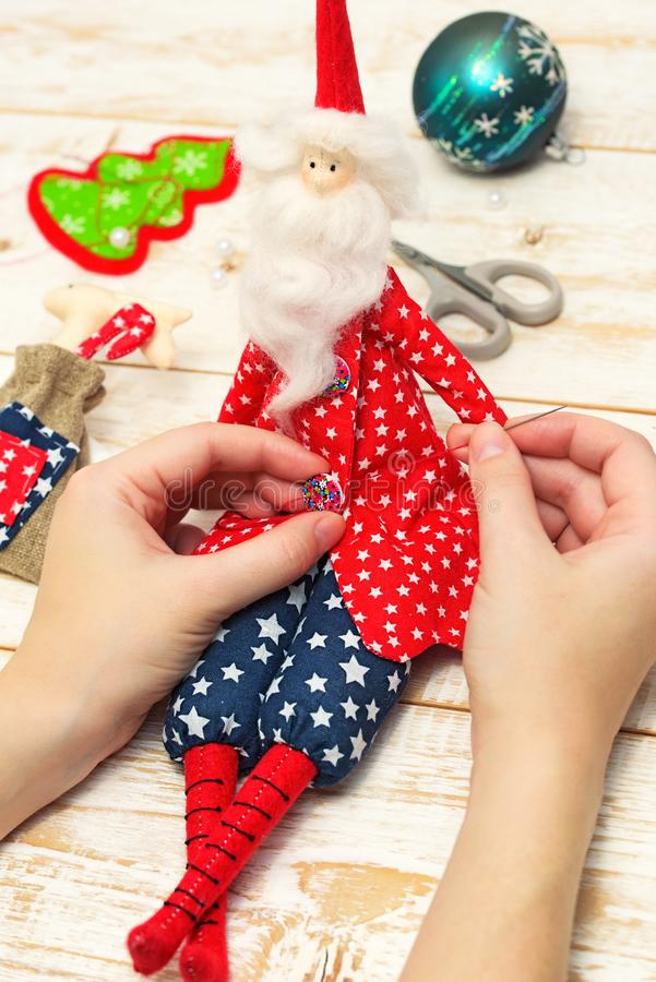 Christmas crafts. Background of Christmas toys stock image
