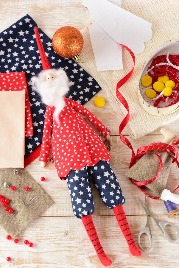 Christmas crafts. Christmas Decoration close-up. Christmas crafts stock photos