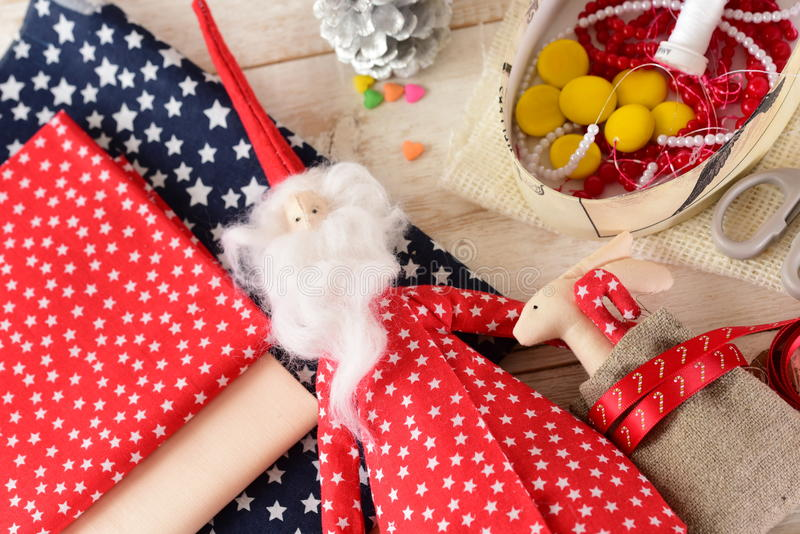 Christmas crafts. Christmas Decoration close-up. Christmas crafts royalty free stock image