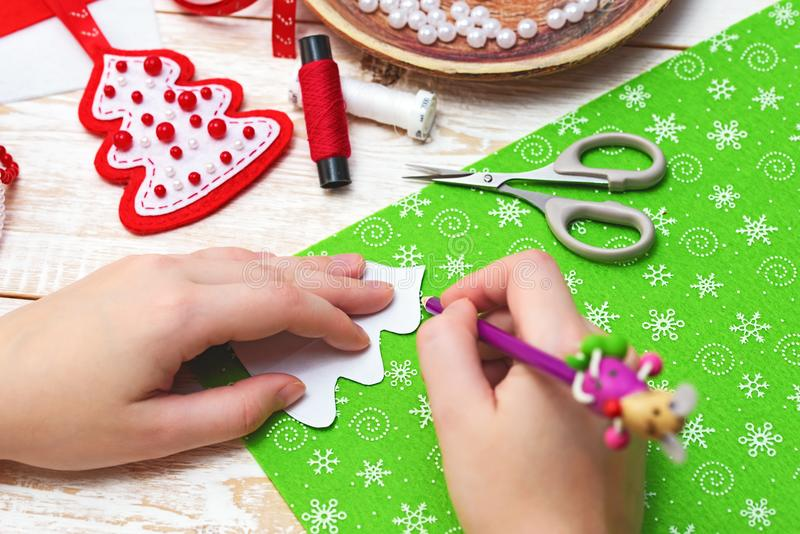 Christmas crafts. Christmas decorations. New Year Celebration royalty free stock image