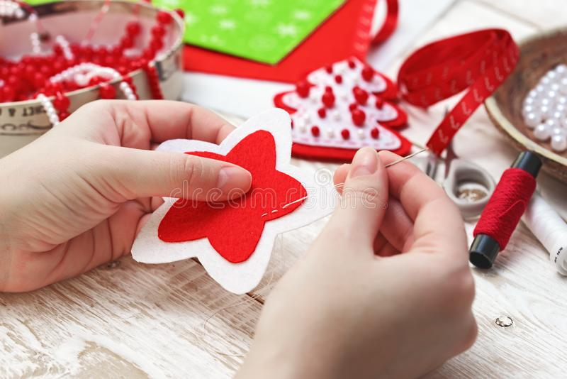 Christmas crafts. Christmas decorations. New Year Celebration royalty free stock images