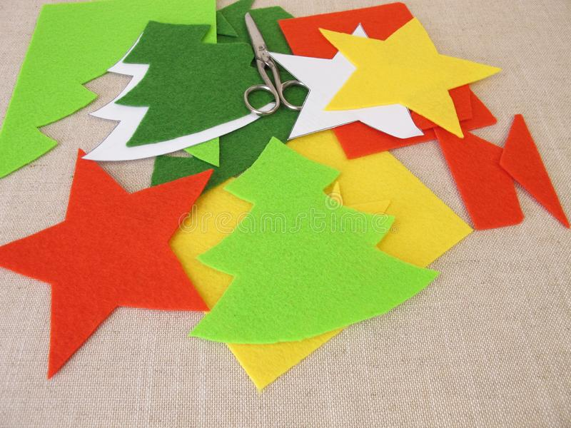 Christmas crafts with felt. Homemade christmas crafts with felt stock photos
