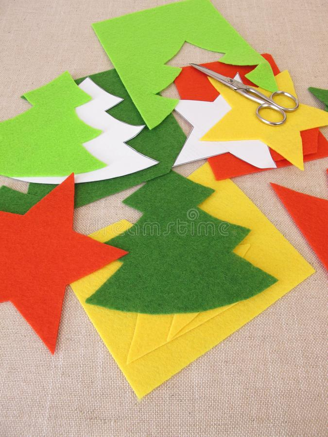 Christmas crafts with felt. Homemade christmas crafts with felt stock photography