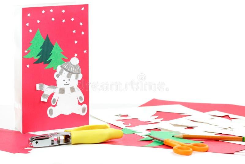 Christmas crafts homemade bag royalty free stock image